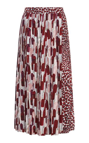 Prada Pleated Printed Midi Skirt in print