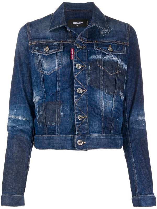 Dsquared2 cropped distressed denim jacket in blue