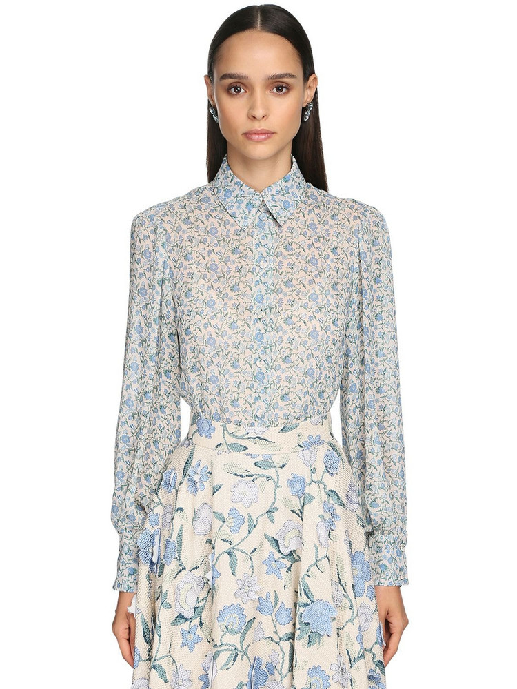 LUISA BECCARIA Floral Print Viscose Crepe Shirt in blue / ivory