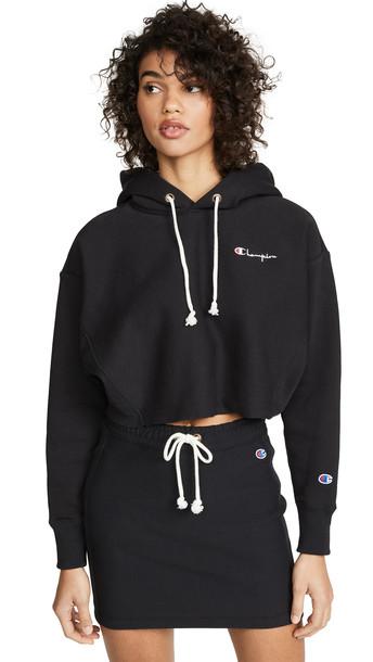 Champion Premium Reverse Weave Cropped Hooded Sweatshirt in black