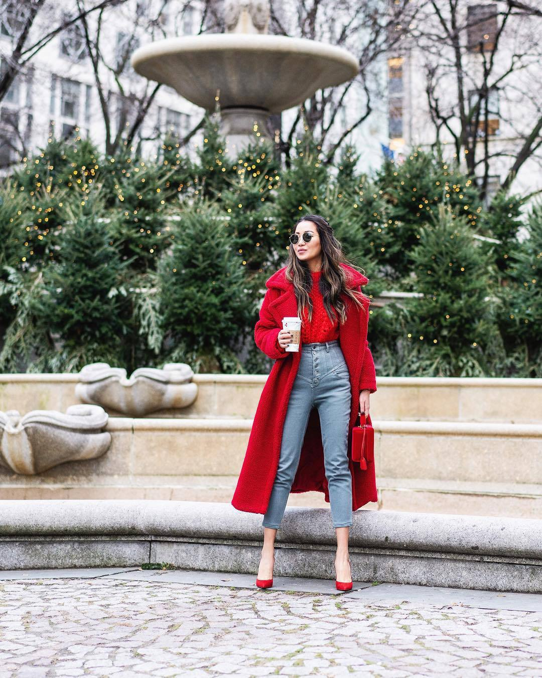 jeans high waisted jeans skinny jeans pumps red coat teddy bear coat oversized coat boxed bag sweater