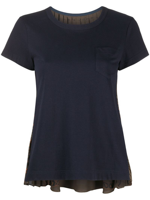 Sacai pleated back panel T-shirt in blue