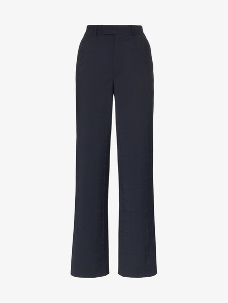 Situationist High-waisted checked trousers in blue