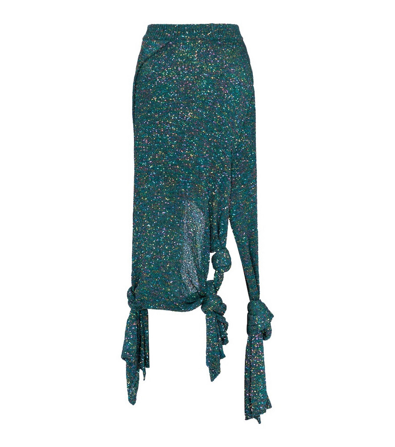 Loewe Sequined asymmetric maxi skirt in blue