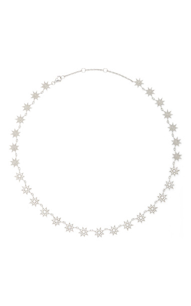Colette Jewelry Glow Stars 18K White Gold and Diamond Necklace in silver