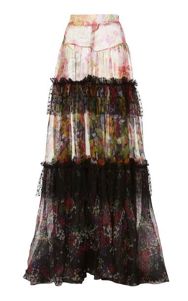 Dundas Contrast Print Maxi Skirt in multi