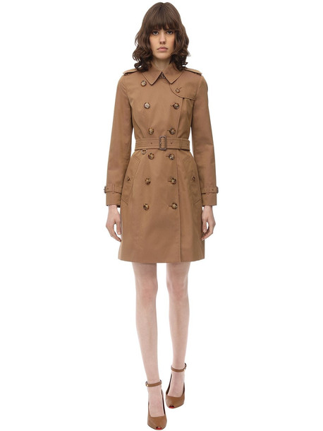 BURBERRY Kensington Cotton Canvas Trench Coat in taupe