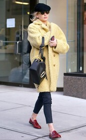 coat,fur,fur coat,faux fur,jennifer lawrence,pants,streetstyle