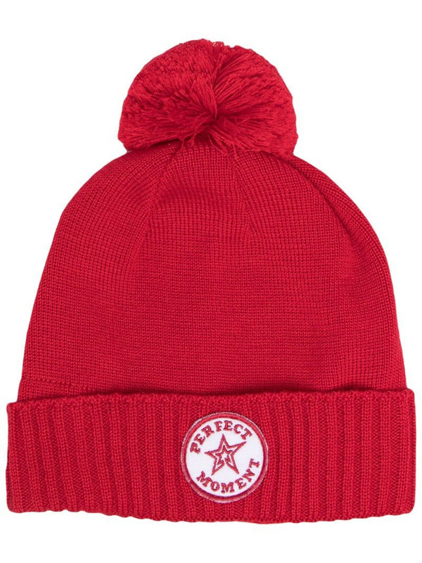 Perfect Moment pompom beanie hat in red
