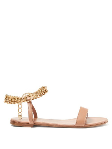 Gianvito Rossi - Chain Ankle Strap Leather Sandals - Womens - Nude