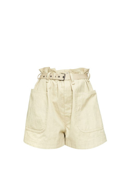 Isabel Marant Étoile - Rike High-rise Belted Canvas Shorts - Womens - Beige