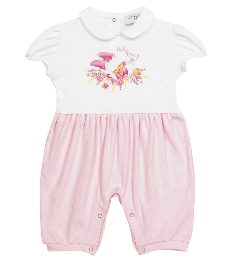 Monnalisa x Disney® Baby printed cotton jersey playsuit in white