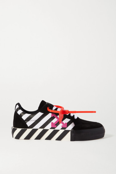Off-White - Striped Canvas And Suede Sneakers - Black