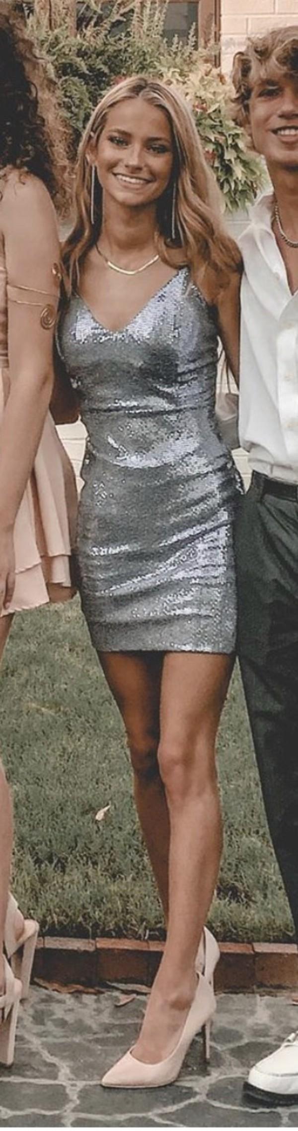 dress kale smit silver sequin mini dress v neck spaghetti straps dress