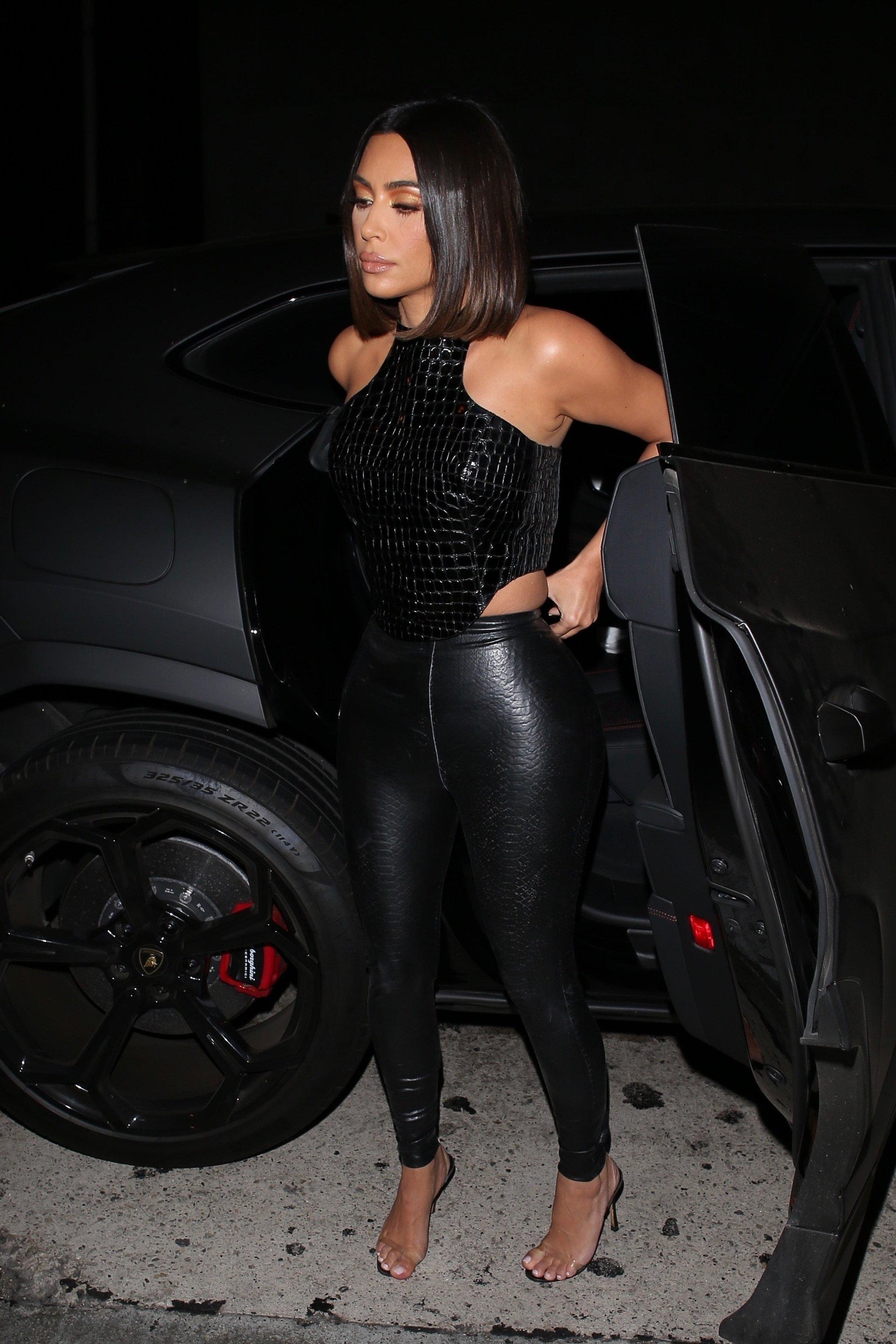 pants leather vinyl kim kardashian kardashians sexy top black