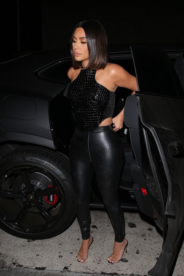pants leather vinyl kim kardashian kardashians sexy top black