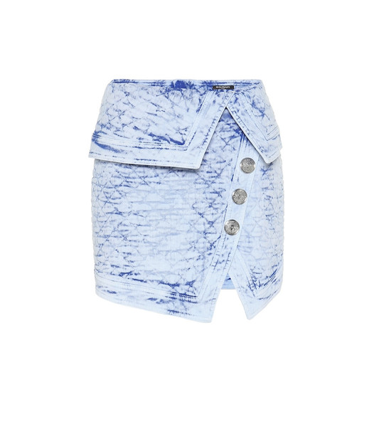 Balmain Quilted denim miniskirt in blue