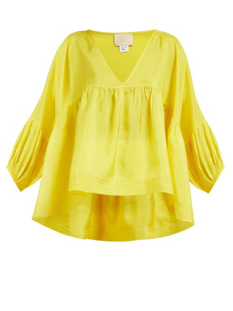 ee25db77d27e8 Anaak - Airi Gathered Silk Satin Blouse - Womens - Yellow - Wheretoget