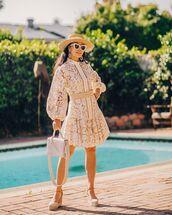 dress,white dress,lace dress,mini dress,platform shoes,hat,bag