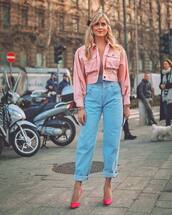jeans,high waisted jeans,pumps,pink jacket,denim jacket,cropped jacket,top