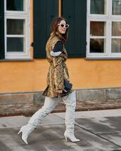 shoes,over the knee boots,heel boots,white blouse,tights,snake print,shirt dress,black bag,white sunglasses