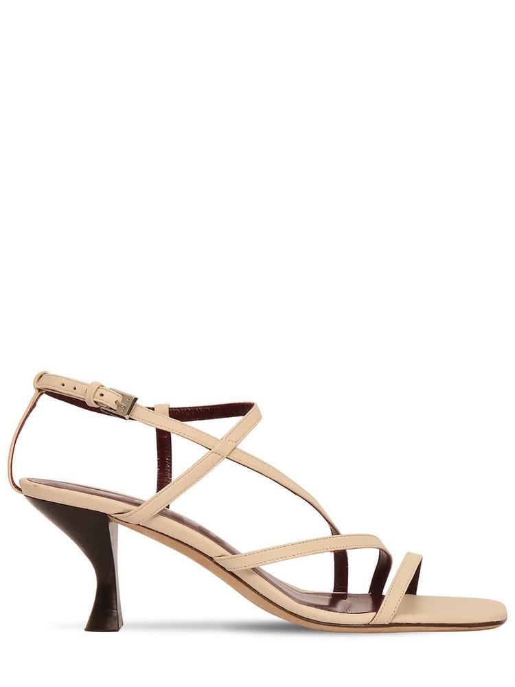 STAUD 60mm Gita Leather Sandals in white