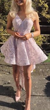 dress,light pink,embroidered,skater dress,ruffle dress,ladies day,v neck dress,flowers
