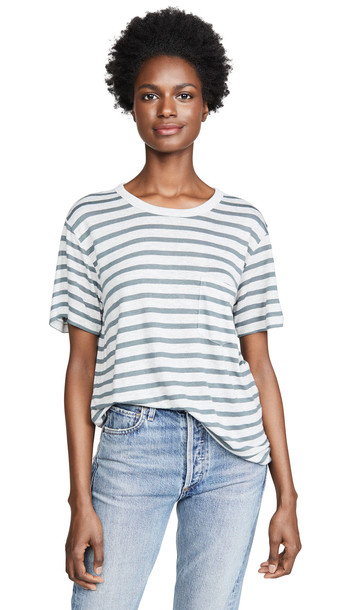 alexanderwang.t Striped Slub Short Sleeve Tee in grey