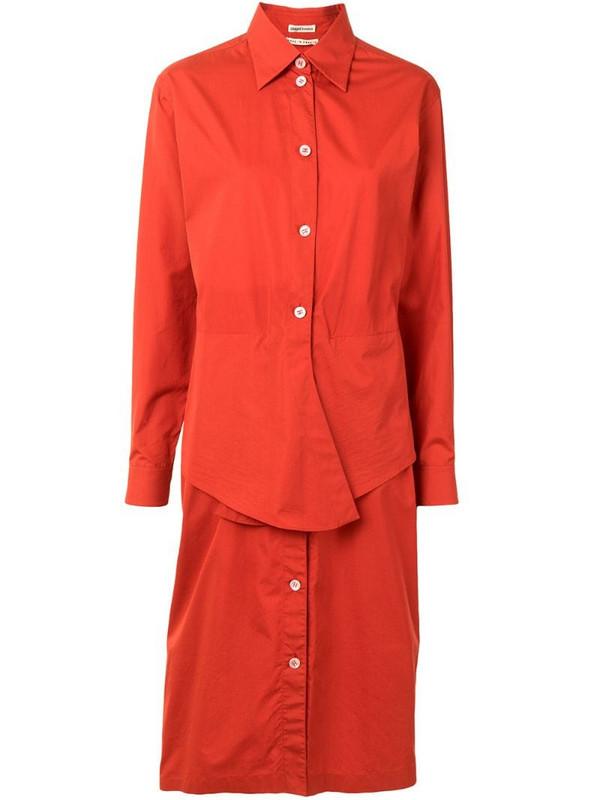 Hermès tied waist shirt dress in red