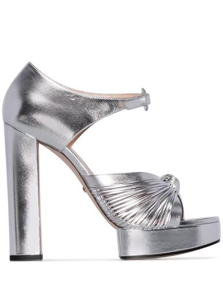 Gucci Crawford platform sandals in metallic