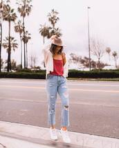 top,tank top,cropped,straight jeans,mom jeans,ripped jeans,white sneakers,white cardigan,felt hat,jeans