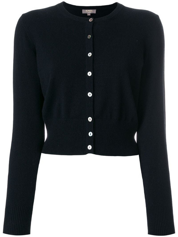 N.Peal cropped contrast button cardigan in black
