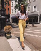 jeans,high waisted jeans,flare jeans,yellow,white blouse,short sleeve,v neck,pumps