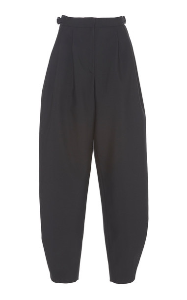 ROKSANDA Andra Cotton And Silk Blend Tapered Pants Size: 14 in black