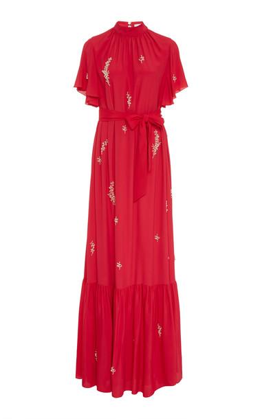 Erdem Ciella Embellished Maxi Gown in pink