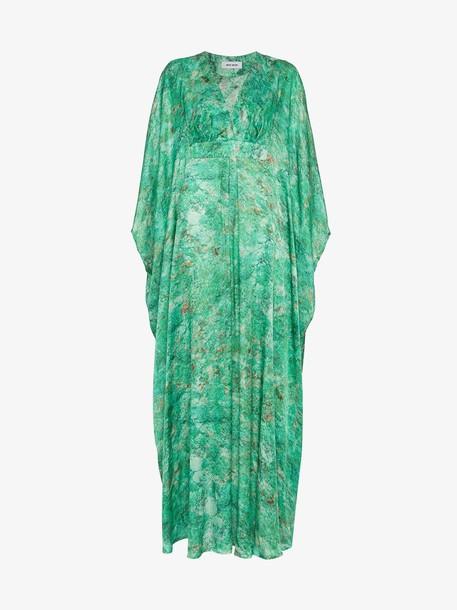 Marta Larsson MÄRTA LARSSON Green Chrysocolla Printed Silk Kaftan Maxi Dress