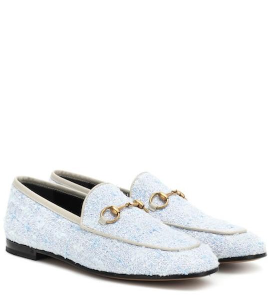 Gucci Jordaan tweed loafers in blue