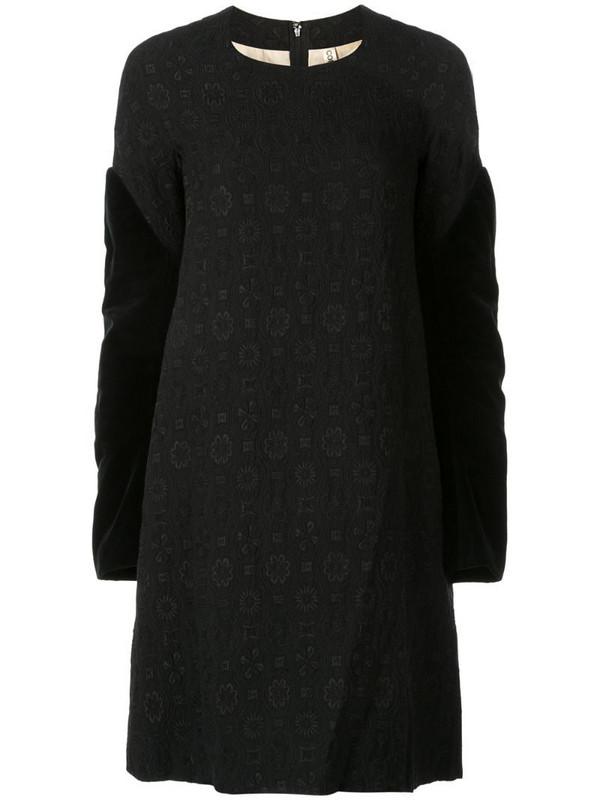 Comme Des Garçons Pre-Owned velvet sleeves jacquard dress in black