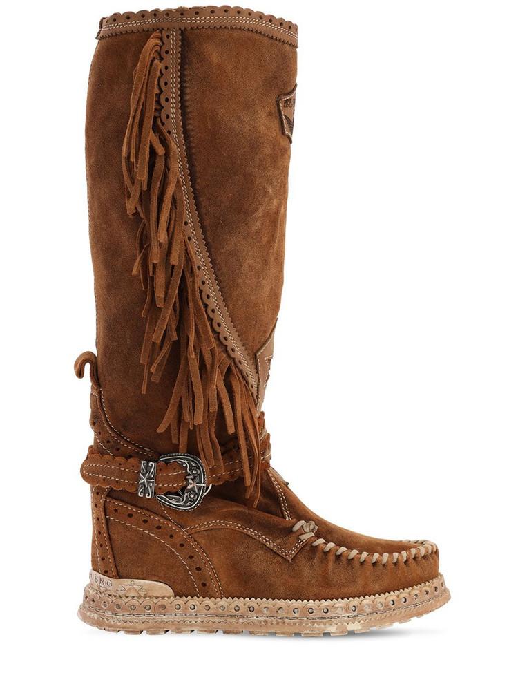 EL VAQUERO 70mm Jade Fringed Suede Boots in tan