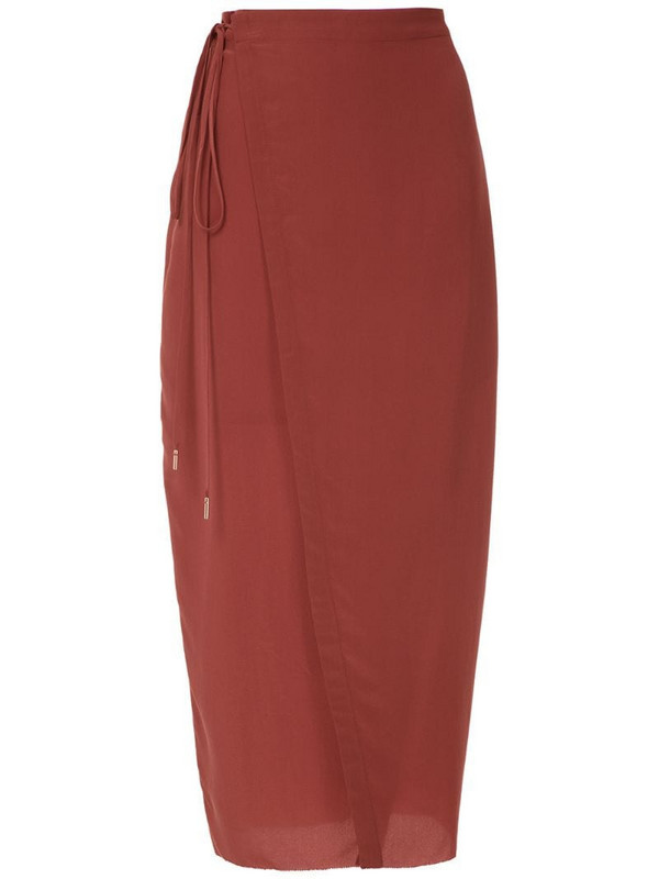 Osklen silk wrap skirt in red