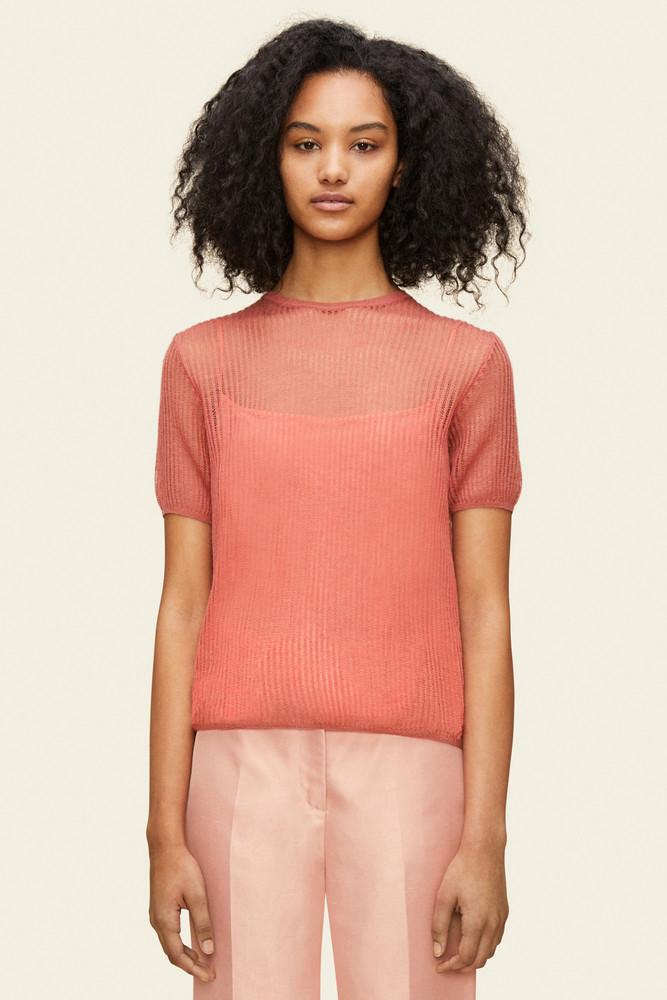 Mansur Gavriel Mohair Short Sleeve Sweater - Blush