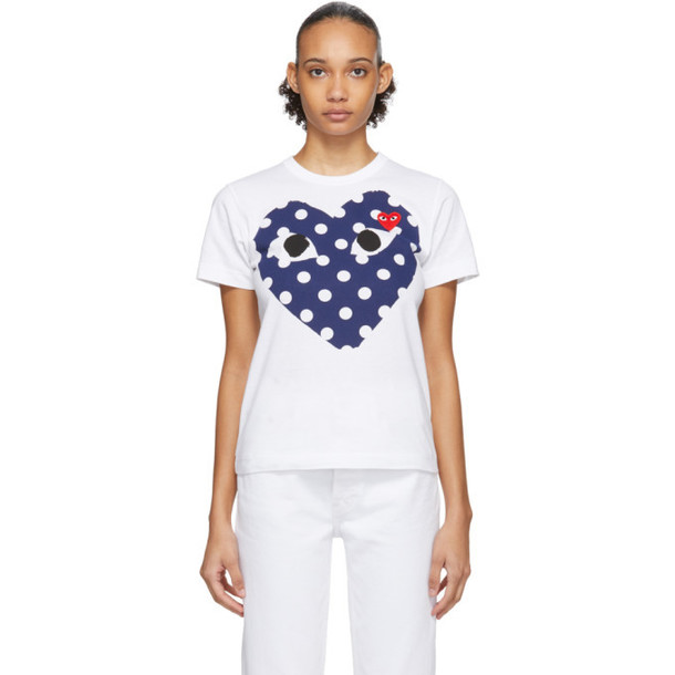 Comme des Garcons Play White and Navy Polka Dot Big Heart T-Shirt