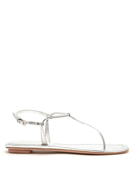 Prada - Ankle Strap Leather Sandals - Womens - Silver
