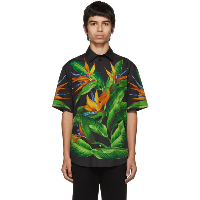 Dolce and Gabbana Dolce & Gabbana Black Bird Of Paradise Hawaiian Shirt