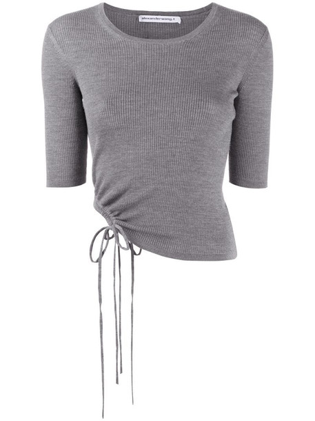 Alexander Wang ribbed ruched-side top in grey
