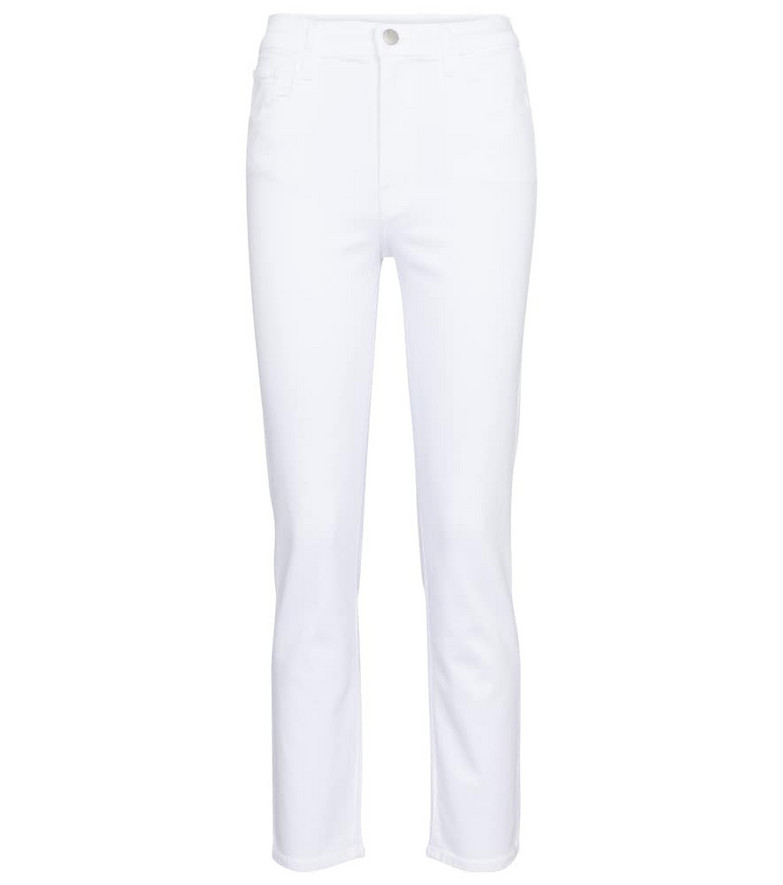 J Brand Alma high-rise straight jeans in white