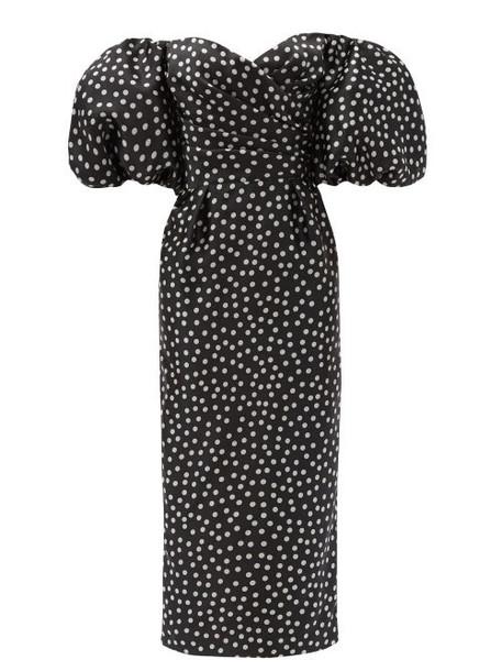 Rasario - Off-the-shoulder Polka-dot Silk Midi Dress - Womens - Black White