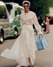 dress,white dress,maxi dress,long sleeve dress,maxi bag