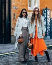 skirt,pleated skirt,midi skirt,asymmetrical skirt,black boots,sock boots,heel boots,plaid,blazer,loewe,top,sunglasses