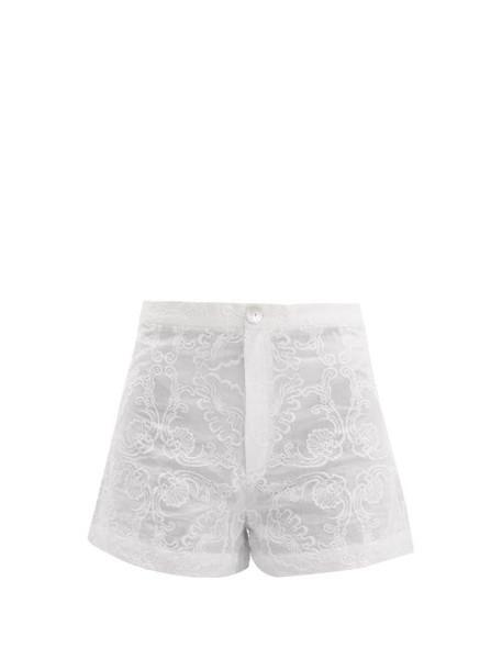 Le Sirenuse, Positano - Alma Floral Embroidered Cotton Shorts - Womens - White